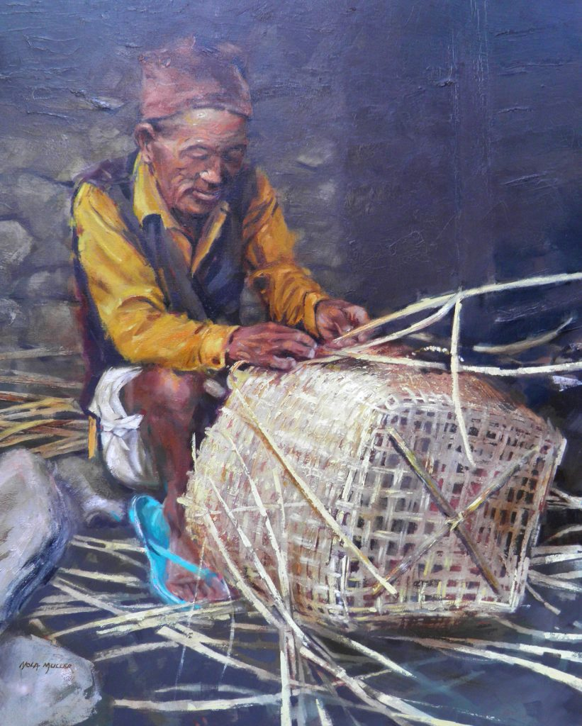 Oil. Basket weaver Nepal 750x600