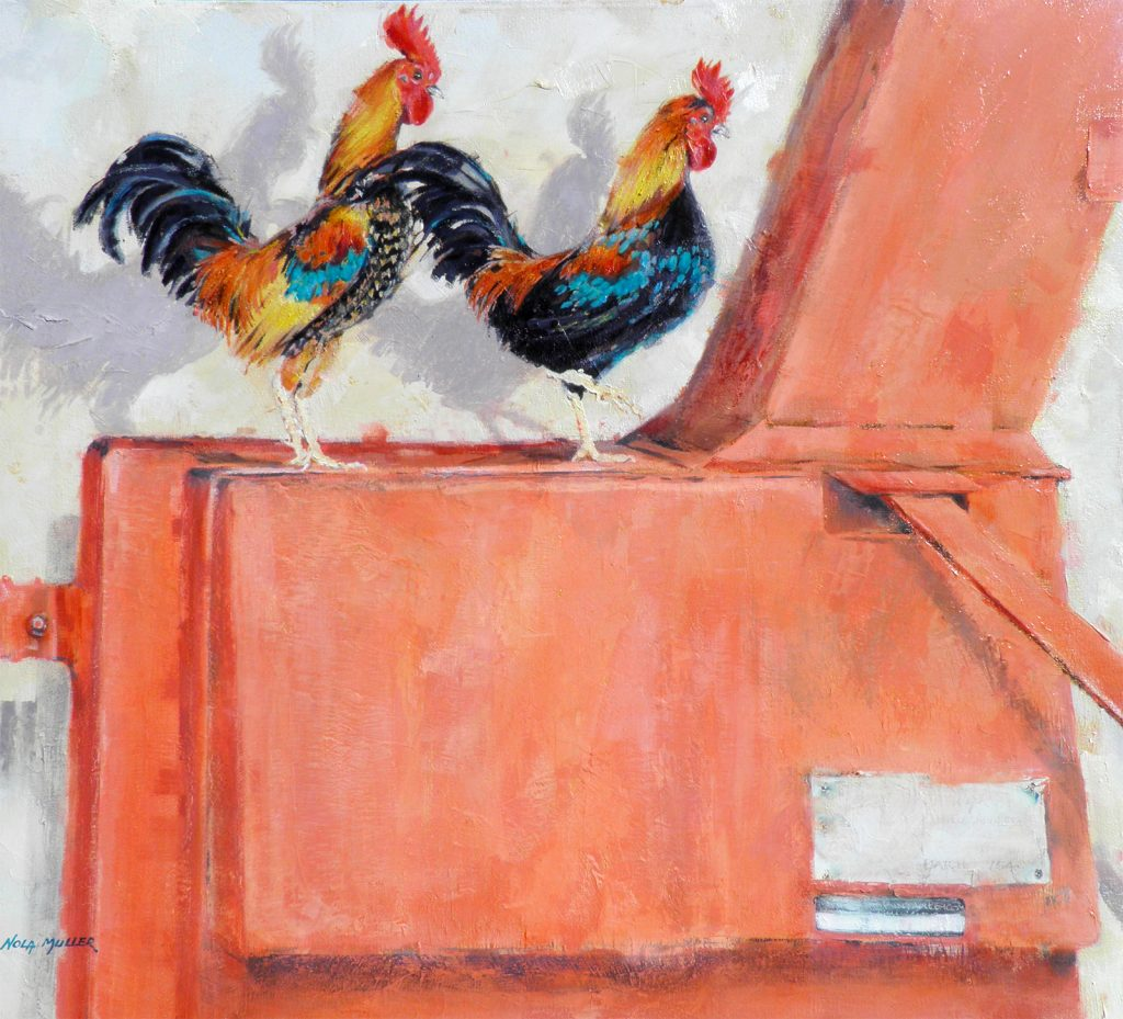 Oil.Two Roosters 800x900