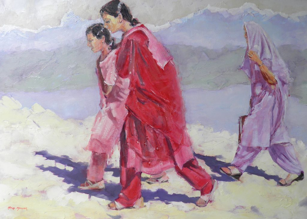 Oil. Walking to World Peace Shrine 650x900