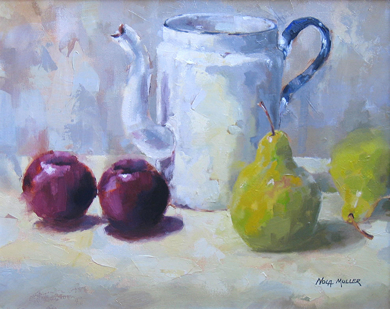 Oil. Two plums 400x500