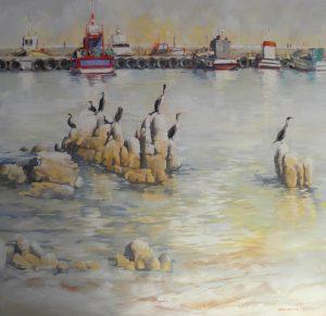 Oil. Cormorants at Kalk Bay 1000x1000