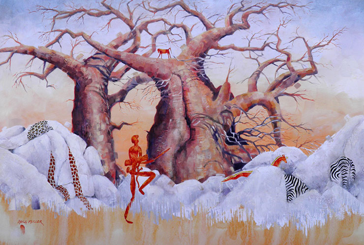 Illusions of the hunter - 80x120 The hunter chases a snake that transforms into a giraffe while the zebra, leopard and giraffe melt into the rock.  A baboon looks on from the safety of the baobab.