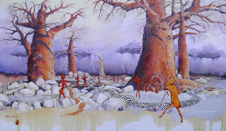 The inviting storm - 70x120 Rains play a crucial part in the survival and movement of the nomadic hunter gatherers.  This drama could also indicate a departure from the planet due to animal fencing for the grazing cattle of the so-called
